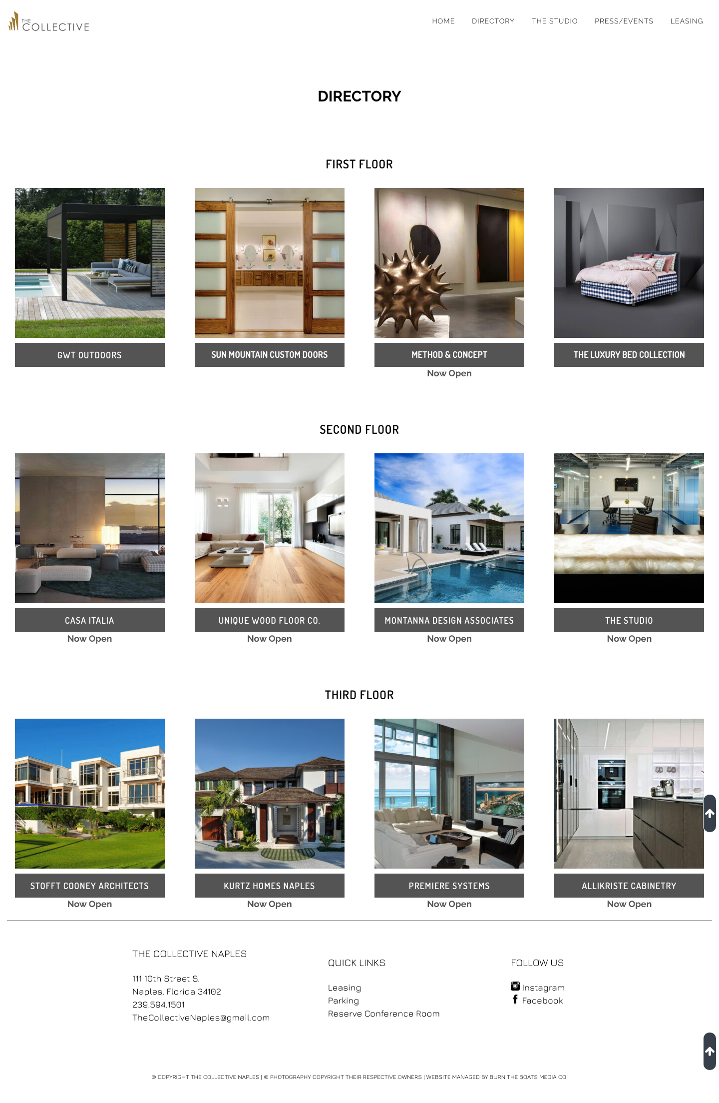 The Collective Directory website design