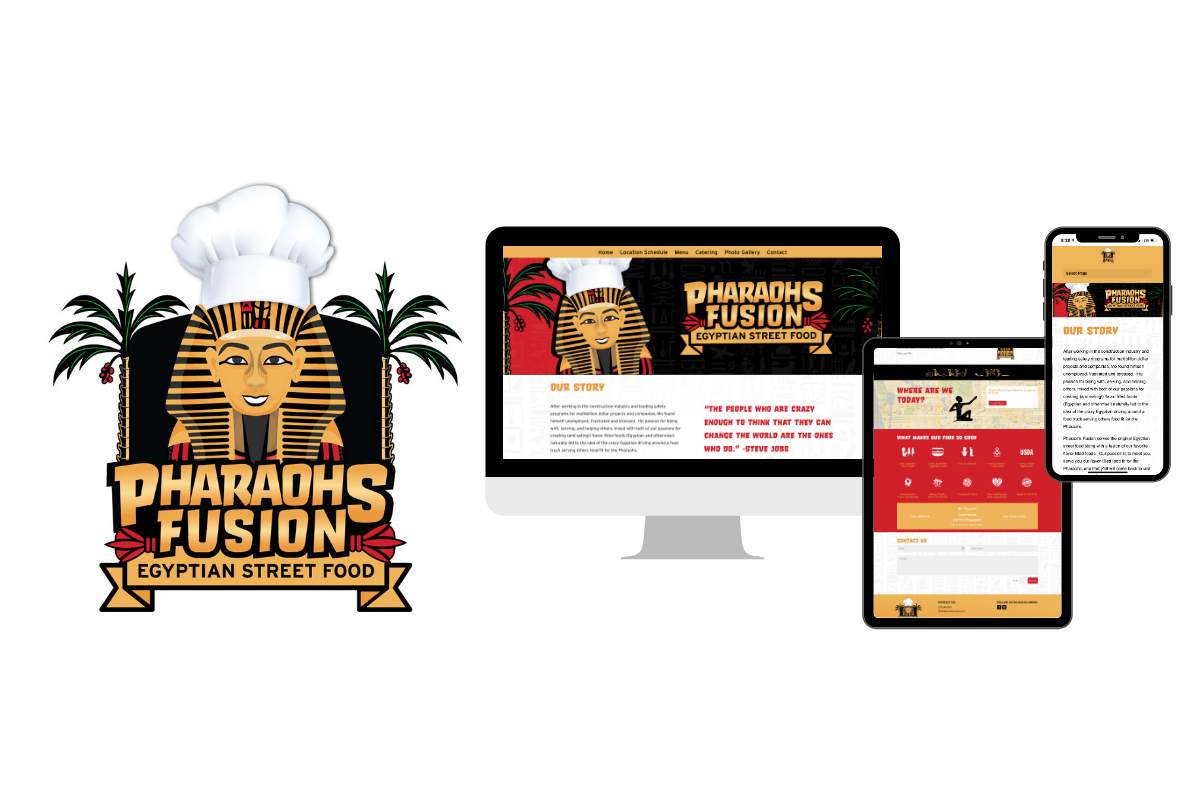 Pharaohs Fusion Food Truck Logo, Graphics, Website