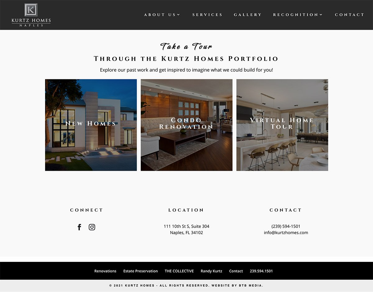 kurtz homes website design gallery