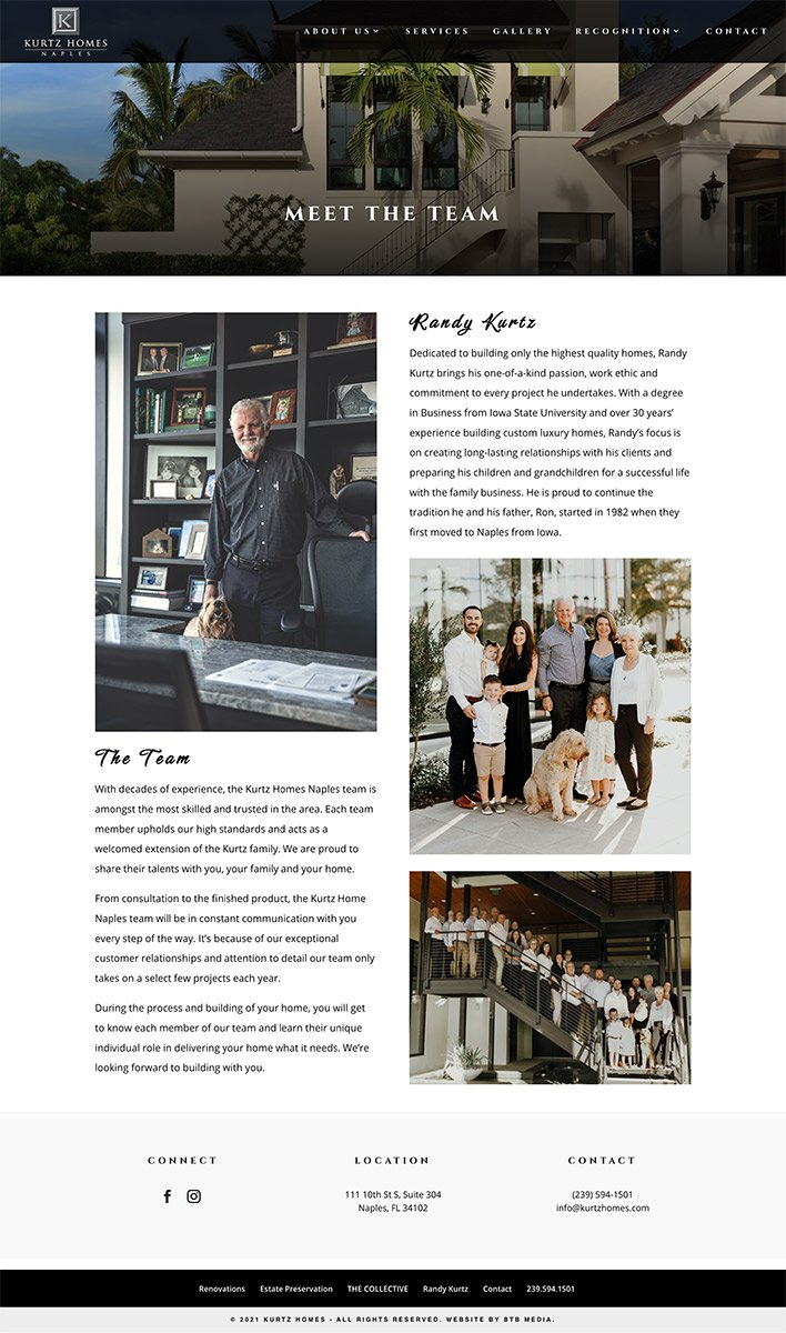 kurtz homes website design about page