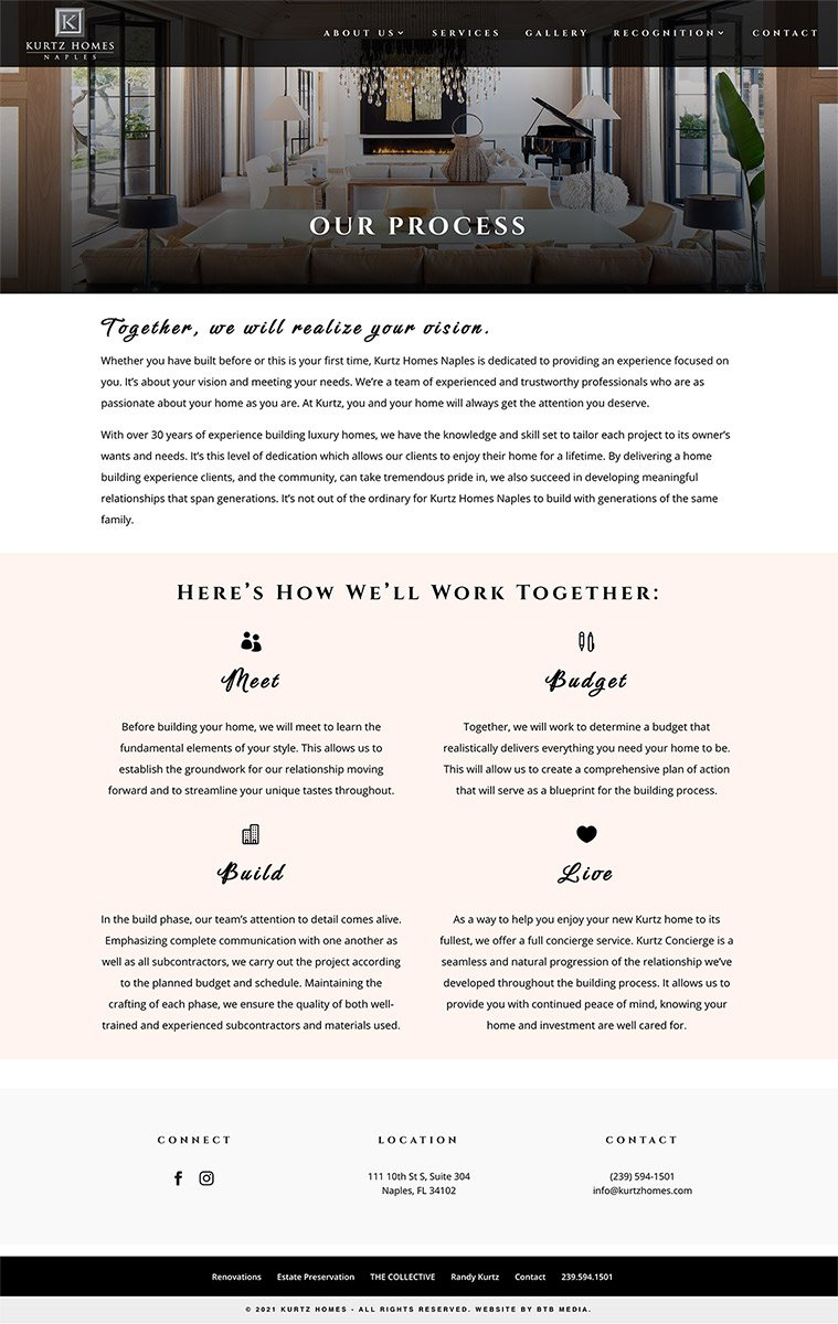 kurtz homes website design services