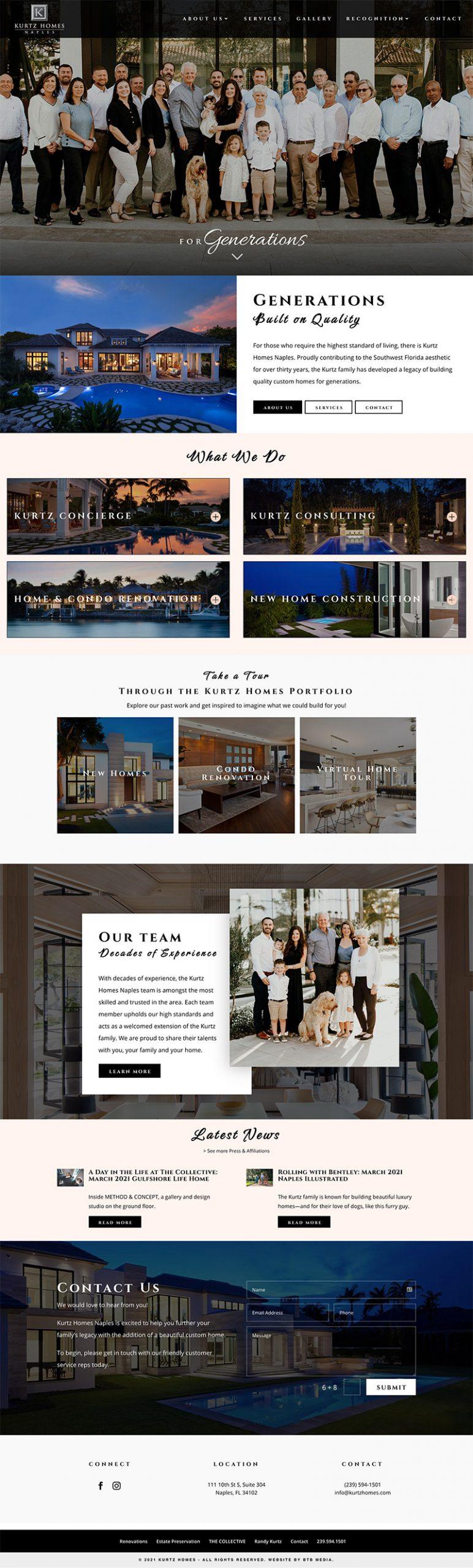 kurtz homes website design