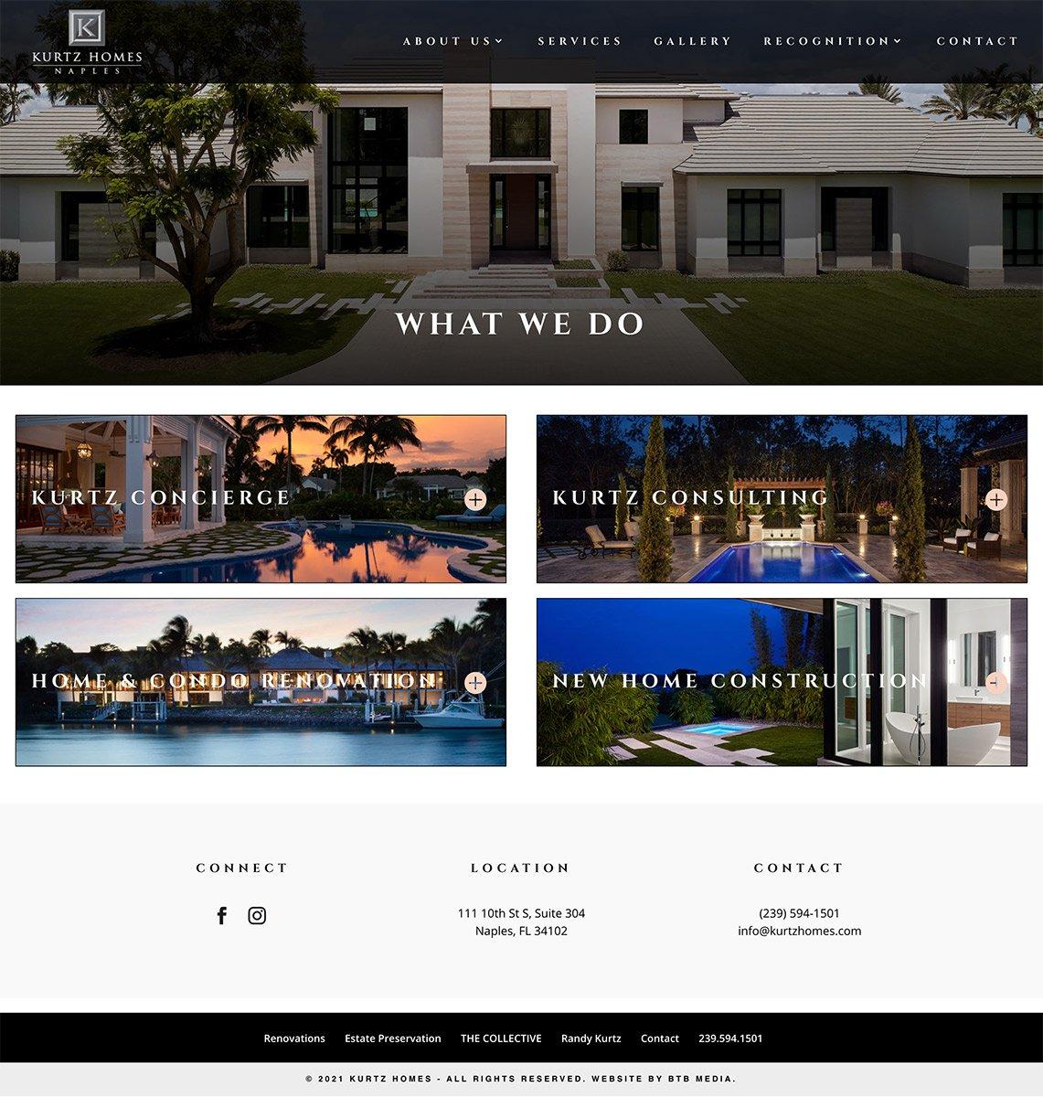 kurtz homes website design services page