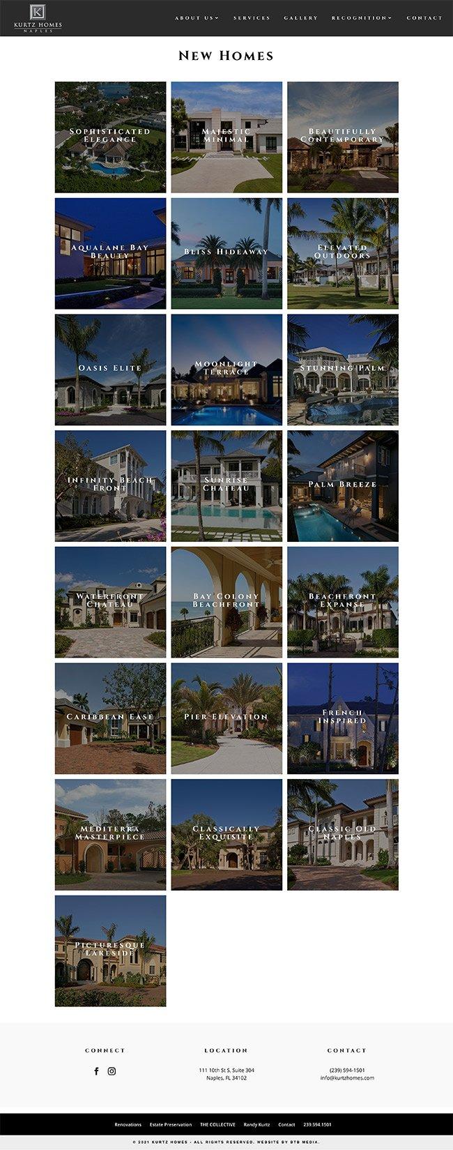 kurtz homes website design new homes
