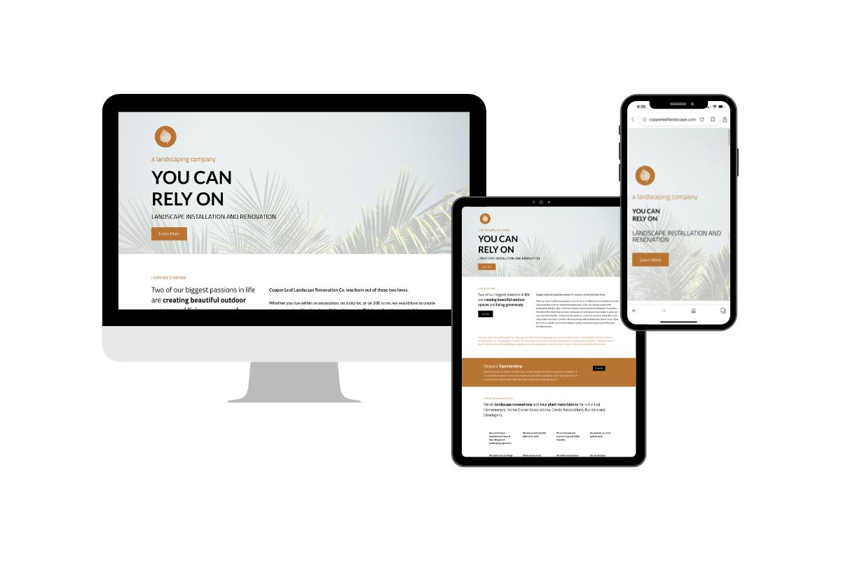 copper leaf landscape website design