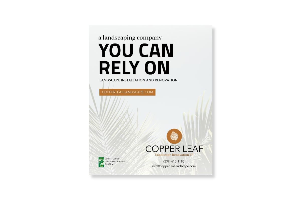 copper leaf landscape print ad design